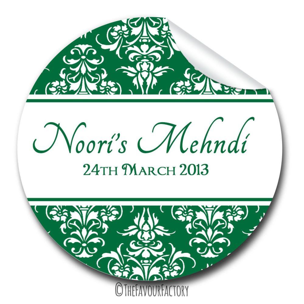 1x A4 sheet Damask Mehndi Wedding Celebrations Personalised Favour Stickers