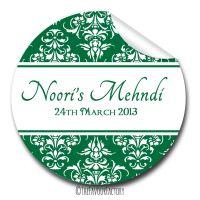 Mehndi Damask Wedding Celebrations Personalised Favour Stickers