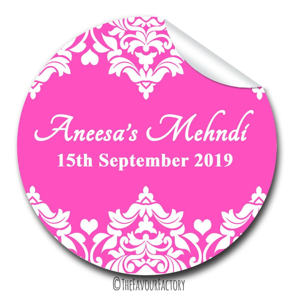 Mehndi Wedding Celebrations Personalised Favour Stickers, 1xA4 sheet