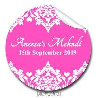 Damask Hearts Mehndi Wedding Celebrations Personalised Favour Stickers, 1xA4 sheet