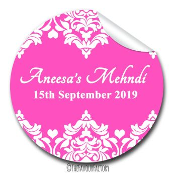 Mehndi Damask Hearts Wedding Celebrations Personalised Favour Stickers, 1xA4 sheet
