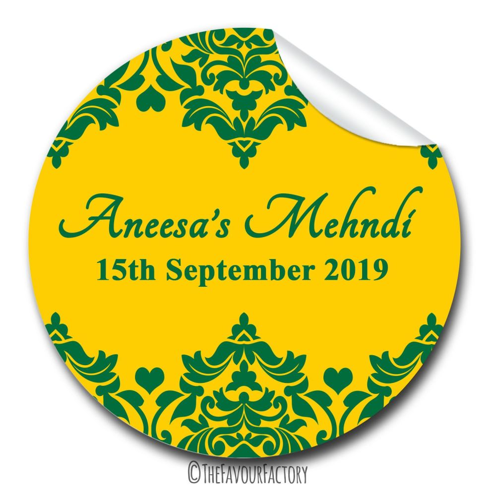 Hunt Green Damask Hearts Mehndi Wedding Personalised Favour Stickers, 1xA4