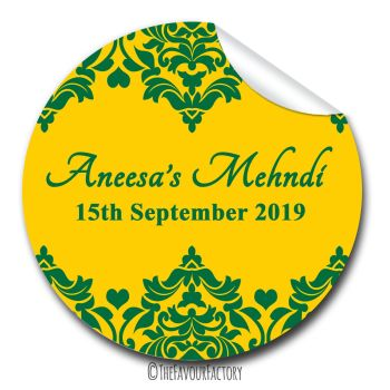 Mehndi Hunter Green Damask Hearts Wedding Personalised Favour Stickers