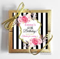 Black Stripe Florals Personalised Birthday Party 4 Chocolates Quads Favours x1