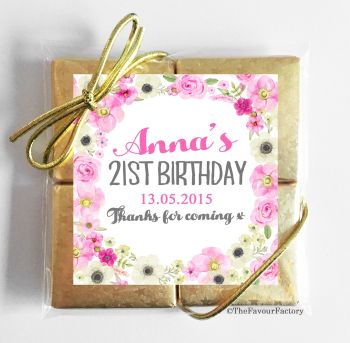 Anna Florals Personalised Birthday Party 4 Chocolates Quads Favours x1