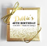 Gold Glitter Confetti Personalised Birthday Party 4 Chocolates Quads Favours x1