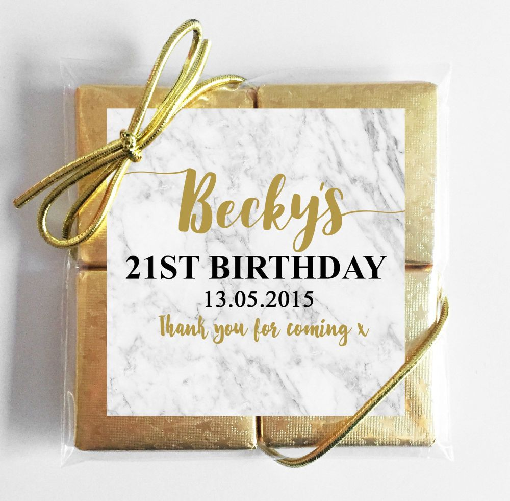 Marble Personalised Birthday Party 4 Chocolates Quads Favours x1