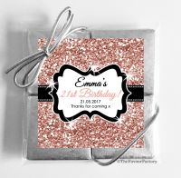 Rose Gold Glitter Personalised Birthday Party 4 Chocolates Quads Favours x1