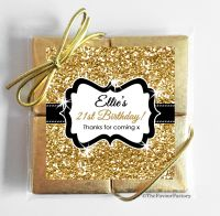 Gold Glitter Personalised Birthday Party 4 Chocolates Quads Favours x1