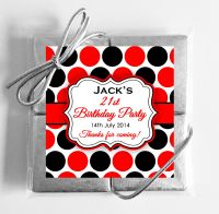 Large Polka Dots Personalised Birthday Party 4 Chocolates Quads Favours x1