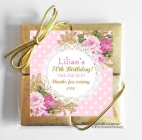 Vintage Ornate Roses Personalised Birthday Party 4 Chocolates Quads Favours x1