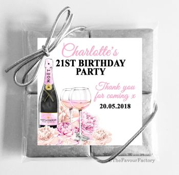 Champagne & Flowers Personalised Birthday Party 4 Chocolates Quads Favours x1