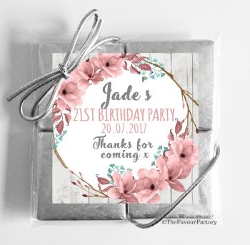 Boho Floral Wreath Personalised Birthday Party 4 Chocolates Quads Favours x1