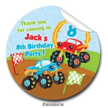 Monster Trucks Personalised Birthday party stickers 1x A4 sheet