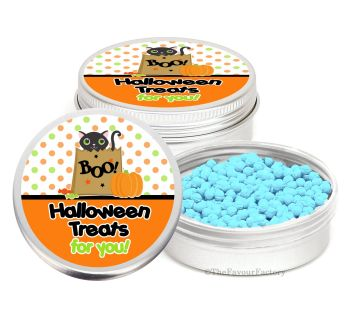Black Cat Personalised Halloween Party Favour Tins Keepsakes x1