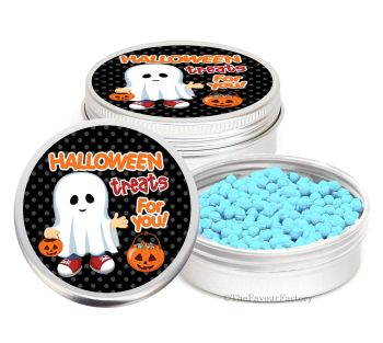 Ghost Boy Personalised Halloween Party Favour Tins Keepsakes x1