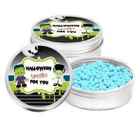 Frankenstein Personalised Halloween Party Favour Tins Keepsakes x1