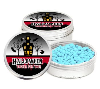 Haunted House Personalised Halloween Party Favour Tins Keepsakes x1