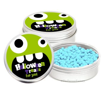 Monster Face Personalised Halloween Party Favour Tins Keepsakes x1