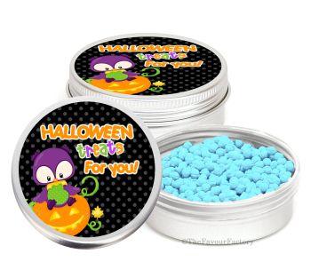Owl on Pumpkin Personalised Halloween Party Favour Tins Keepsakes x1