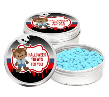 Werewolf Personalised Halloween Party Favour Tins Keepsakes x1