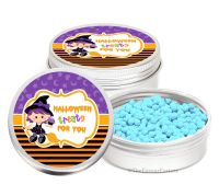 Witch on broomstick Personalised Halloween Party Favour Tins Keepsakes x1