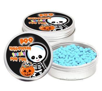 Skeleton Personalised Halloween Party Favour Tins Keepsakes x1