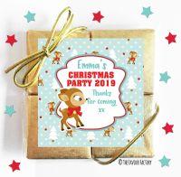 Vintage Rudolf Personalised Christmas Quad Chocolates Party Favours x1