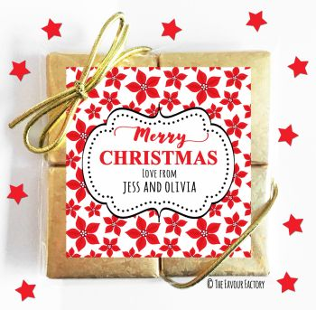Poinsettia Florals Personalised Christmas Chocolates Quad Party Favours x1