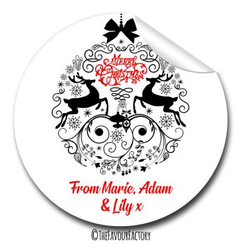 Christmas Gift Tag Stickers Personalised Decorative Bauble