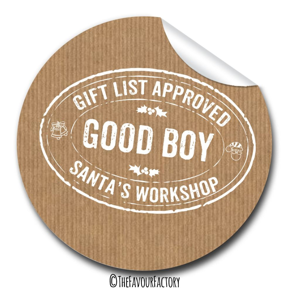 Good Boy Stamp Personalised Gift Tags Labels Stickers 1xA4 sheet