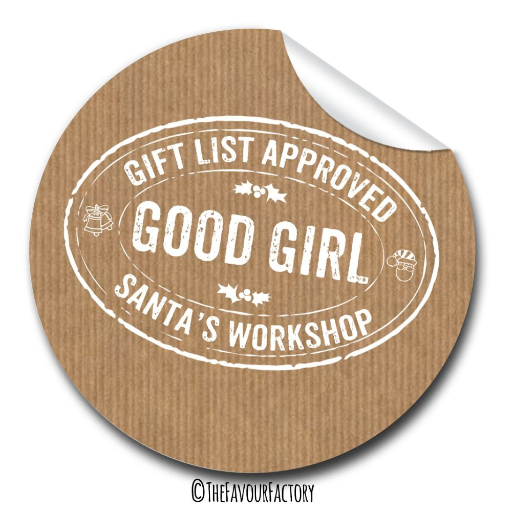 Good Girl Stamp Personalised Gift Tags Labels Stickers 1xA4 sheet