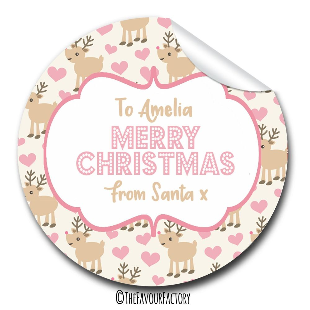 Reindeer Hearts Personalised Christmas Gift Tags Labels Stickers A4 sheet x