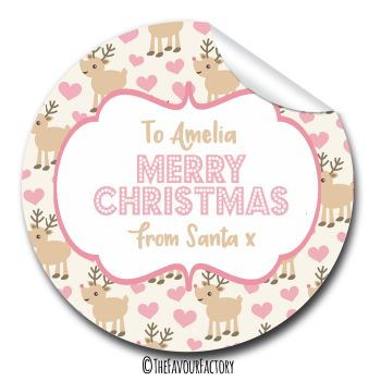 Christmas Gift Tag Stickers Personalised | Reindeer Hearts