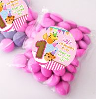 Animal Friends Girls Personalised Birthday Party Sweet Bags Party Bag Fillers x12