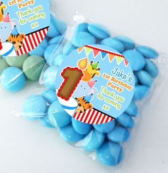 Animal Friends Boys Personalised Birthday Party Sweet Bags Party Bag Fillers x12