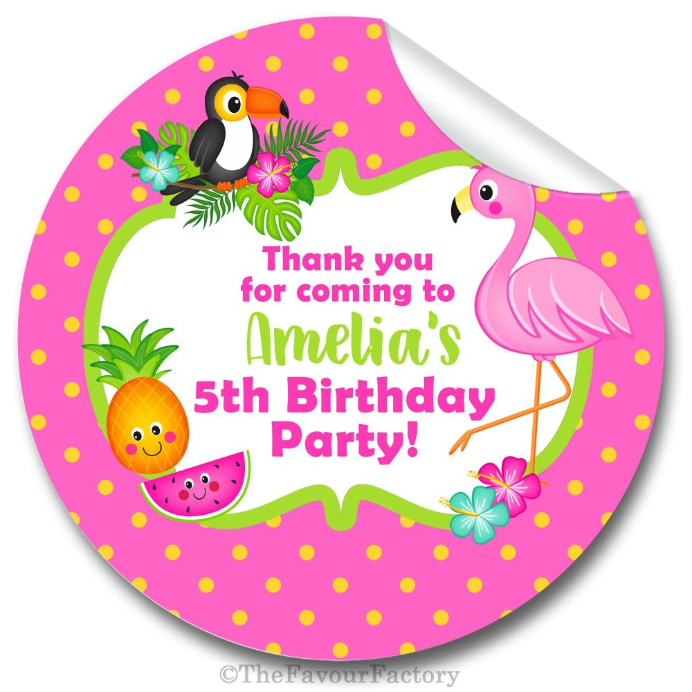 Tropical Flamingo Personalised Birthday party bags sweet cones stickers lab
