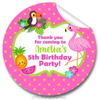 Tropical Flamingo Personalised Birthday Stickers