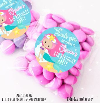 Ocean Mermaid Personalised Birthday Party Sweet Bags Party Bag Fillers x12