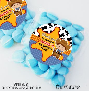 Woody Cowboy Personalised Birthday Party Sweet Bags Party Bag Fillers x12