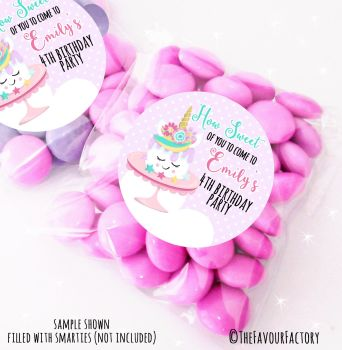 Unicorn Cake Personalised Birthday Party Sweet Bags Party Bag Fillers x12
