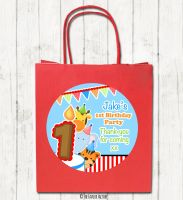 Animal Friends Boys Personalised Children's Birthday Paper Party Bags x1