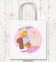 Animal Friends Girls Personalised Children's Birthday Paper Party Bags x1