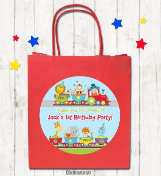Animal Circus Train Personalised Children's Birthday Paper Party Bags x1