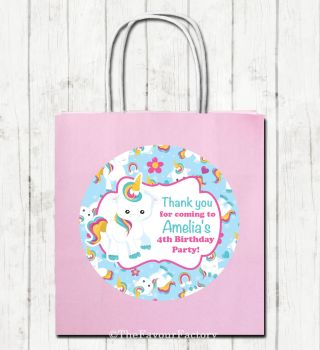 Baby Unicorn Personalised Paper Children's Birthday Paper Party Bags x1