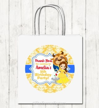 Beauty and the Beast Personalised Children's Birthday Paper Party Bags x1