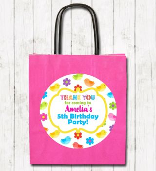 Birds & Flowers Personalised Children's Birthday Paper Party Bags x1