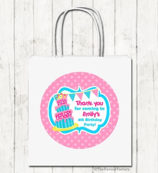 Cake & Bunting Personalised Children's Birthday Paper Party Bags x1