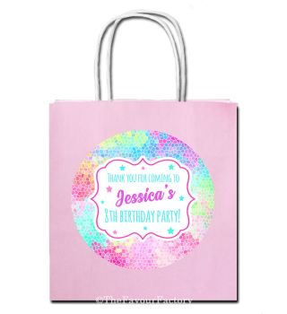 Rainbow Mosaic Personalised Children's Birthday Paper Party Bags x1