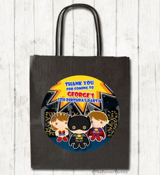 Superheroes Personalised Children's Birthday Paper Party Bags x1